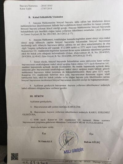Esk Uzun tutukluluk hali davasında Anayasa mahkemesi red kararı