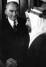 Abdullah I of Jordan and Mustafa Kemal on 1937