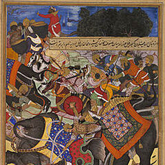 The elephant Citranand attacking another, called Udiya, during the Mughal campaign against the rebel forces of Khan Zaman and Bahadur Khan in 1567.