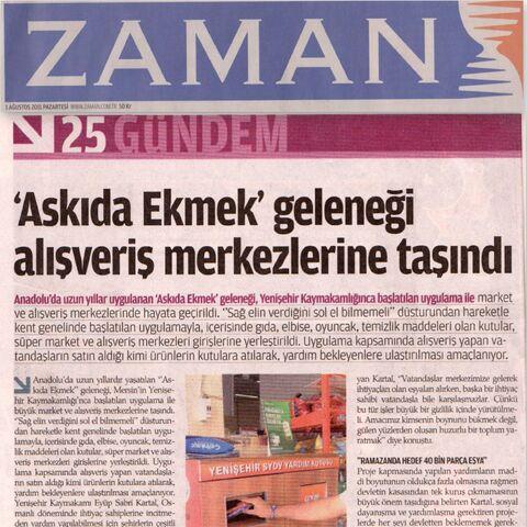 Zaman gazatesi 01 Ağustos 2011 haberi