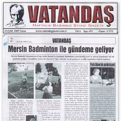 18 Eylül 2009 Vatandaş Gazetesi Haberi.Mersin Badminton İle Gündeme Geliyor.