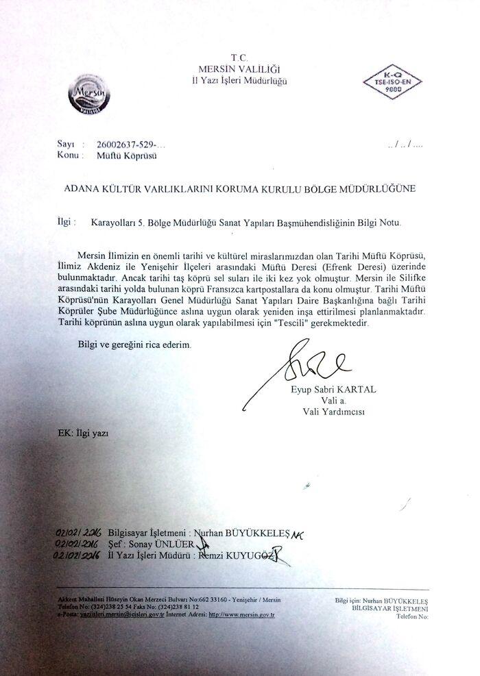 Adana Kültür Varlıklarını Koruma Kurulu Bölge Müdürlüğüne YAZI