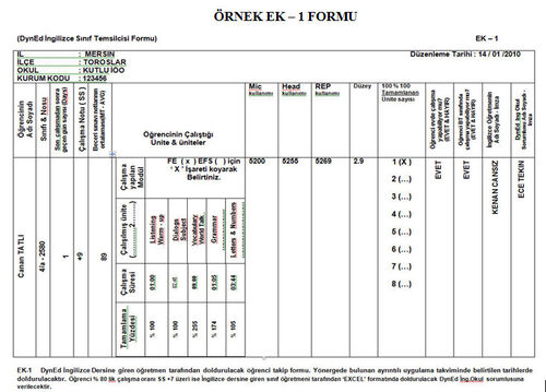 Örnek Ek - 1 Formu