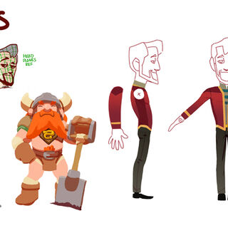 Concept art showing the characters Xephos and Honeydew.