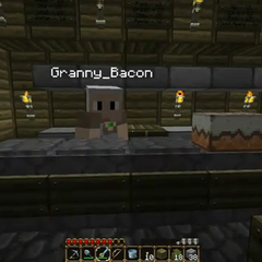 Granny Bacon in her bakery.