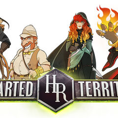 Main characters of <i>Uncharted Territory</i>. From left to right: K'ehleyr, Cromsby, Fia, Six.