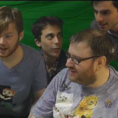 3/4 members of the band and Simon during a stream