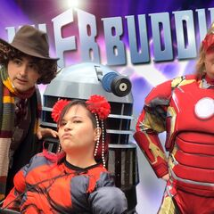 Matt as The Fourth Doctor, Kim in a Deadpool suit, and Duncan in an Iron Man suit. for Flux Buddies 3 Episode 42.