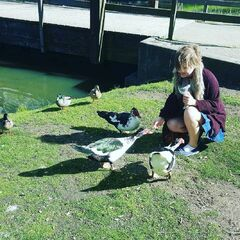 Leo feeding ducks in Holland.
