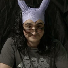 Apart from wearing a wig, Matt also wears the silicon horns since his one-shot character, Barnabus, is a tiefling. Seen in