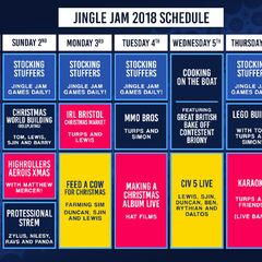 Week 1 schedule of the Jingle Jam