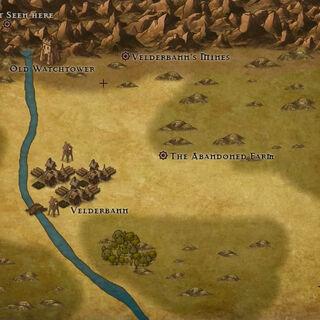 Map of Velderbann and its surroundings. Created by Mark Hulmes using Inkarnate.
