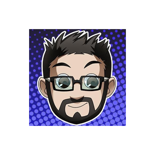 Eric's Previous Yogscast Avatar, updated with a blue background.
