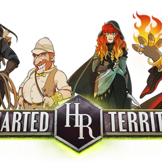 HighRollers: Uncharted Territory logo with characters (transparent background)