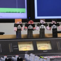 Area 11's papercraft Minecraft characters. From left to right: Leo, Kogie, Sparkles*, and Parv.