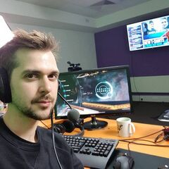 Lewis sitting in the new streaming room 2017.