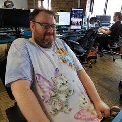 Simon wearing his Fiary Cat t-shirt.