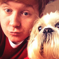 Matt and his dog, Benji.