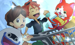Nathan, Mac, Whisper, and Jibanyan escaping from Super Tencho