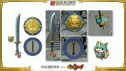 Artwork and graphics of Bushinyan-Shogunyan themed Sword and Shield