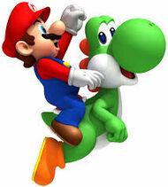 Mario montando en un yoshi