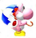 Pink Yoshi has the umbrella