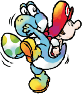 Cyan Yoshi Artwork 2 - Yoshi's Island DS