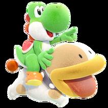Yoshi y Poochy - Yoshi's Crafted World