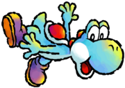 Cyan Yoshi Artwork 1 - Yoshi's Island DS