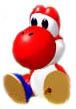 Red Yoshi sits up