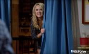 Gabi Behind Curtain