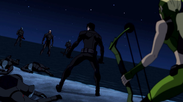 File:Nightwing and Artemis vs Aqualad and his minions.png