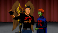 Miss Martian and Superboy try to convince the court