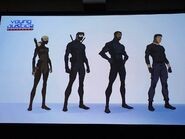 Artemis, Dick, Black Lightning and Superboy (stealth suits)