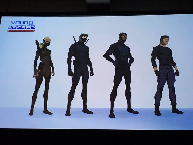 File:Artemis, Dick, Black Lightning and Superboy (stealth suits).JPG