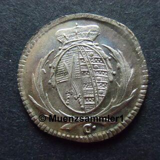Rückseite einer 3 Pfennige Münze von 1793 aus Sachsen, aus der Sammlung von Muenzsammler1.