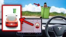 Tricking Tesla Autopilot into thinking my Girlfriend is a Wheelie Bin