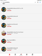 Fake channels with the same YouTuber name as PopularMMOs