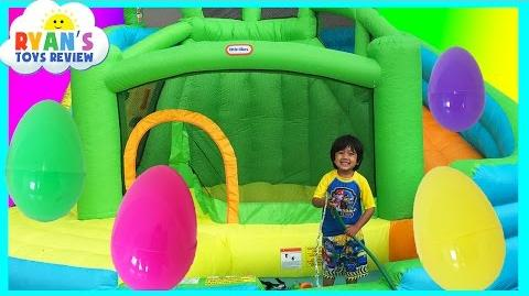 Video - HUGE EGGS Surprise Toys Challenge with Inflatable