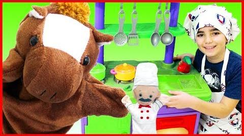 Vlad Pretend Play Kitchen Toys Set Food Cooking with Puppet Dolls