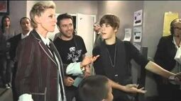 Greyson Chance Backstage at the VMAs with Justin Bieber