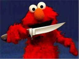 Elmo with a knife