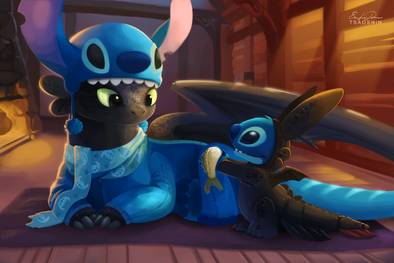 Stitch and toothless by tsaoshin-d7i57wg