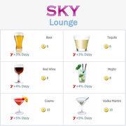 Sky Lounge Menu
