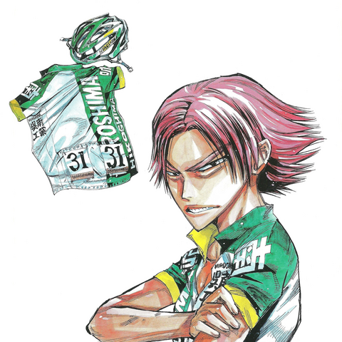Machimiya with his jersey and helmet.