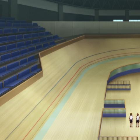 Inside the indoor track.