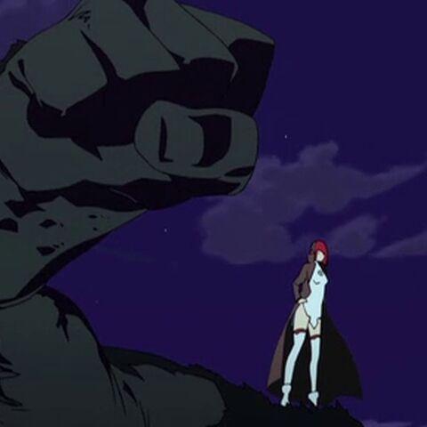 Fallen Zakuro standing on her golem