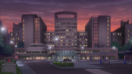 Ep012 View of Den's hospital at night
