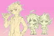 Chibi Yusaku, Yuya and Yuma eating drawn by Tomonaga