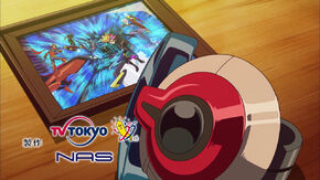 Ed 5 Playmaker and his group on picture and Yusaku's duel disk